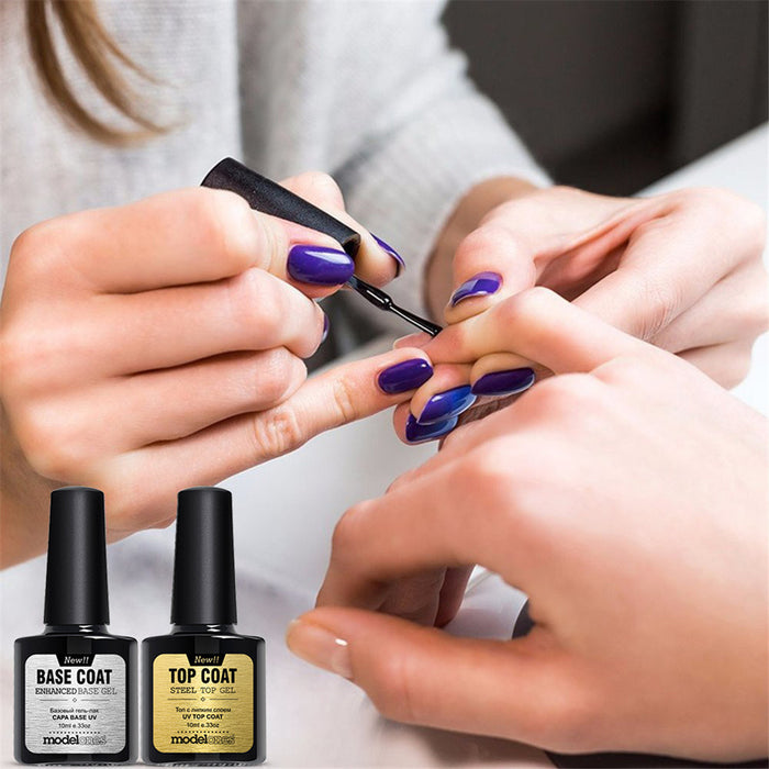 """Gel Manicure Polish"" Nail Polish Top Coat and Base Coat Set 