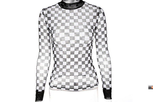 """First Never Last"" Long Sleeve Checkered Sheer Women's Top"