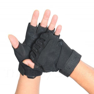 Military Tactical Half Finger Anti-slip Gloves - Black