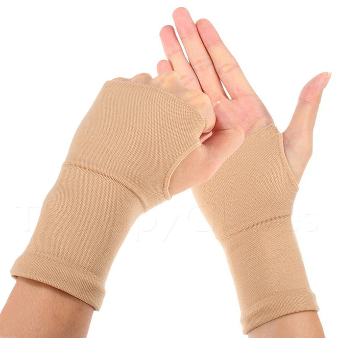 Beige Elastic Palm Wrist and Hand Support Sleeves