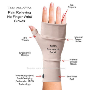 Features of the Bioceramic No Finger Infrared Wrist LIN Gloves