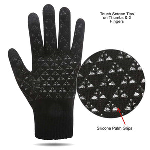 Silcone Palm Grip on the Touch Screen Wool Cashmere Gloves