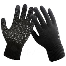 Silicone Palms Knitted Touch Screen Wool Cashmere Gloves in Black