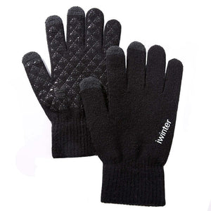 Knitted Touch Screen Wool Cashmere Gloves in Black