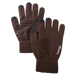 Coffee Brown Knitted Touch Screen Wool Cashmere Gloves