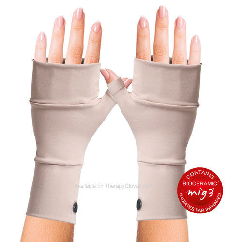 MIG3 Bioceramic No Finger Infrared Wrist Gloves for Arthritis - Beige
