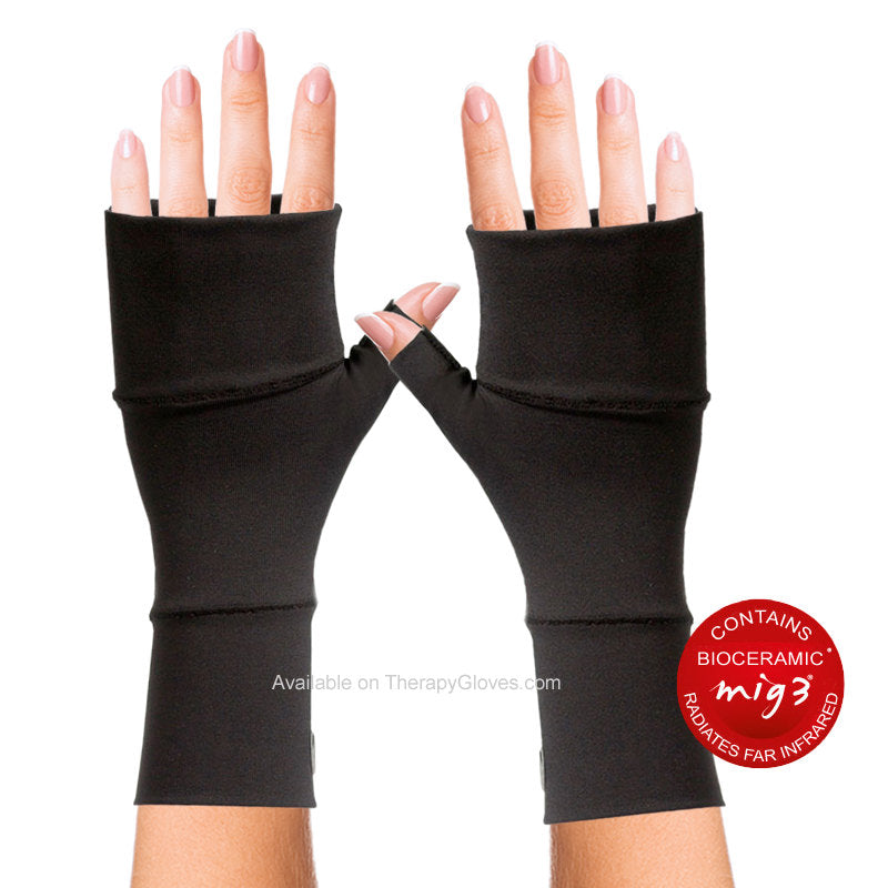 MIG3 Bioceramic No Finger Infrared Wrist Gloves - Black