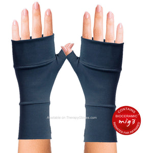 MIG3 Bioceramic No Finger Infrared Arthritis Wrist Gloves - in Dark Blue