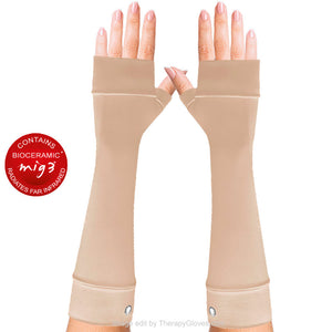 Beige Forearm long gloves. Invel Bioceramic Gloves - no fingers