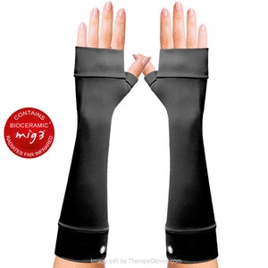 Invel® Bioceramic Forearm Gloves No Fingers. Long gloves Pain relieving  - Black