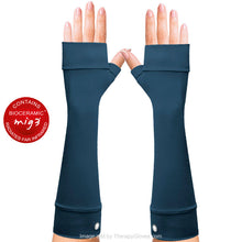 Pain relieving Invel® Bioceramic Forearm Gloves No Fingers. Long gloves in Dark Blue