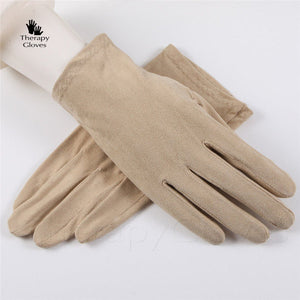 Beige Nu Suede Perspiration Absorbing Driving Gloves