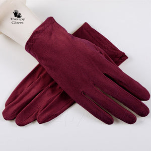Burdundy Nu Suede Sweat Absorbing Anti-Slip Driving Gloves