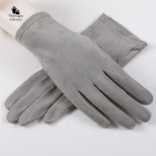 Soft Grey Nu Suede Anti-Slip Driving Gloves for Women and Men