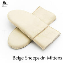 Beige Colored Real Sheepskin Fur Mittens for Elegant Ladies