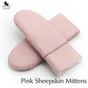 Genuine Sheepskin Fur Mittens for Women - PINK