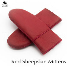 Genuine Sheepskin Fur Mittens for Women - All Red