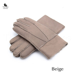 Real Sheepskin Fur Gloves for Men - Beige Tan