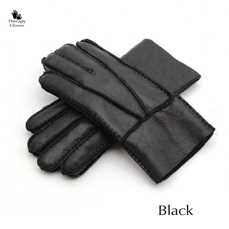 Genuine Sheepskin Gloves for Men - All Black Winter Men's Gloves