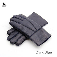 Dark Blue Color Real Sheepskin Fur Gloves for Men