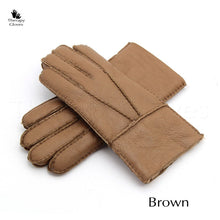 Brown Tan Real Sheepskin Fur Gloves for Men