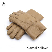 Camel Yellow Natural Sheepskin Gloves for Men - winter gloves