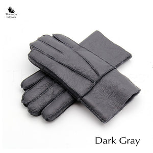 Real Sheepskin Fur Gloves for Men - Dark Gray