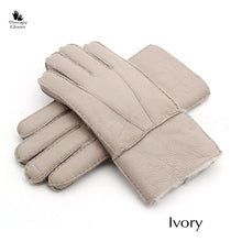 Real Sheepskin Fur Gloves for Men - Ivory Colored