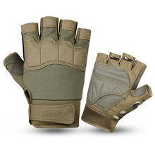 Army Green Summer Sports Open Fingertip Exercise Gloves for Men