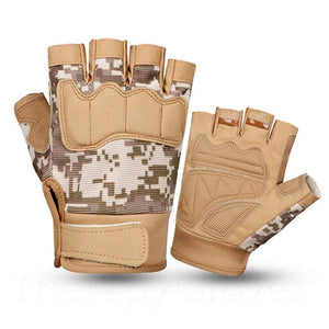 Army Sand Colored Summer Sports Open Fingertip Exercise Gloves for Men
