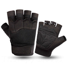 Black Summer Sports Open Fingertip Exercise Gloves for Men