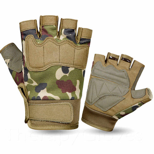 Green Camo Summer Sports Open Fingertip Exercise Gloves for Men