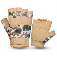 Tan Camo Summer Sports Open Fingertip Exercise Palm Padded Gloves for Men