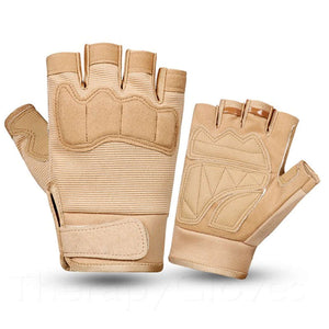 Army Tan Summer Sports Open Fingertip Exercise Gloves for Men