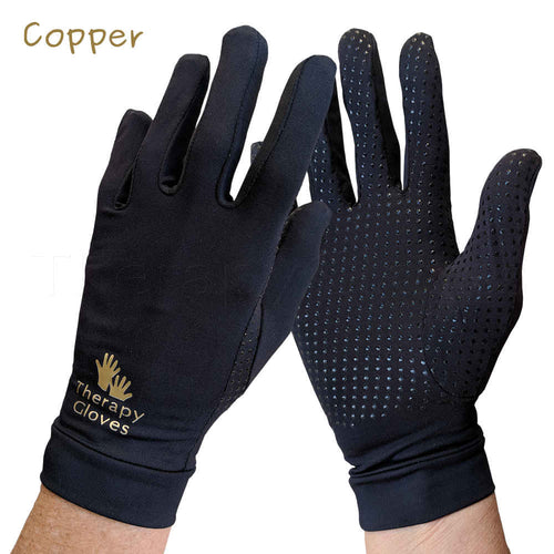 Therapeutic COPPER Full Finger Gloves with Grips for that little bit of extra security while driving. TherapyGloves.com