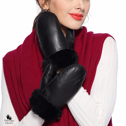 Warm & Cozy Ladies Sheepskin Mittens for Cold Weather