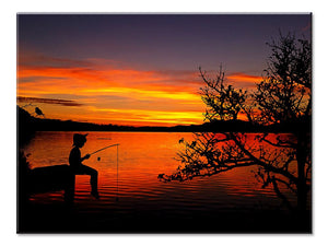 Ocean & Sea Canvas: Boy Fishing Sunset - 1 Panel L