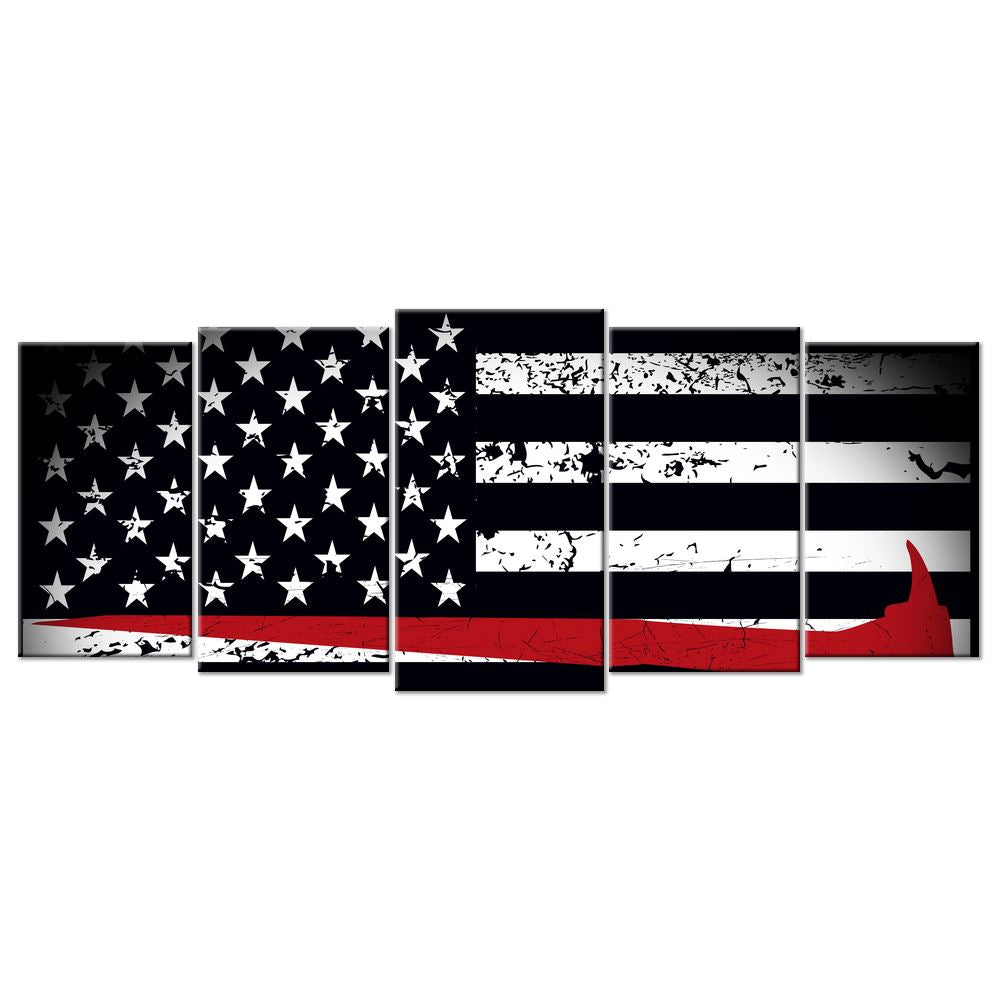U.S. Flag Canvas: Firefighter Flag - 5 panels XL