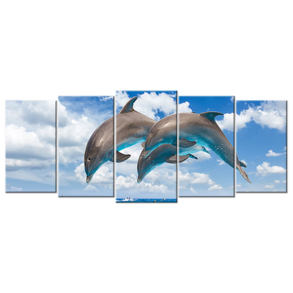 Sealife & Ocean Canvas: Jumping Dolphins - 5 panels L