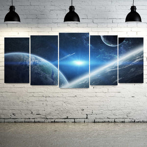 Universe & Planets Canvas: Group Of Planets - 5 panels XL