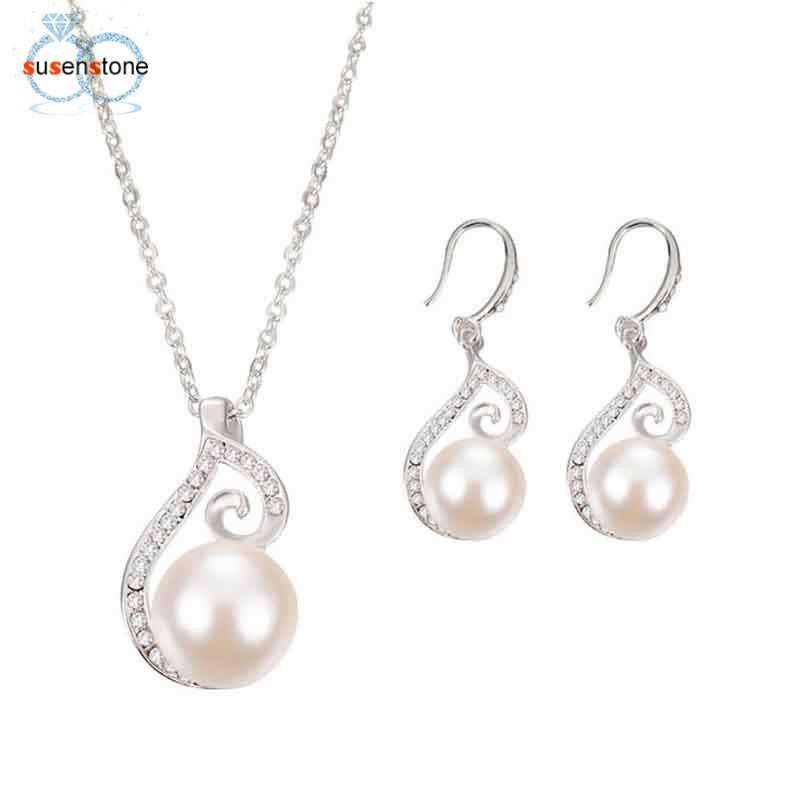 FREE SUSENSTONE Women Bridal Imitation Simulated pearl Crystal Wedding Jewelry Set Necklace Earrings