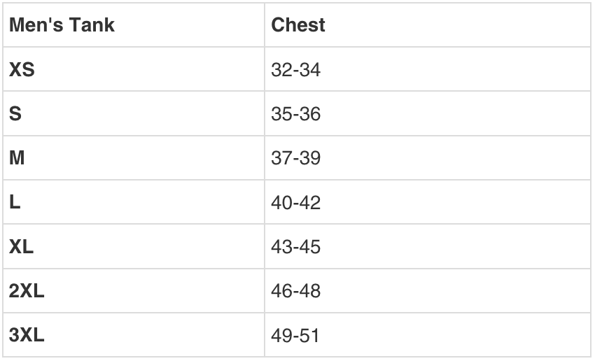 MENS TANK SIZING GUIDE