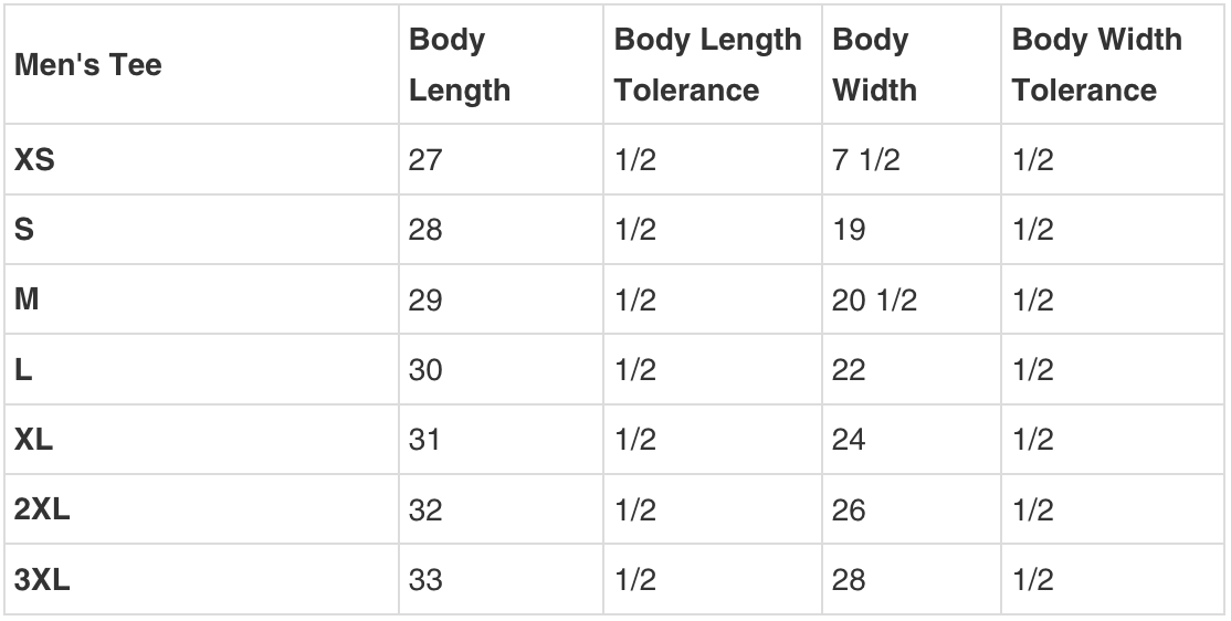 MENS TEE SIZING GUIDE