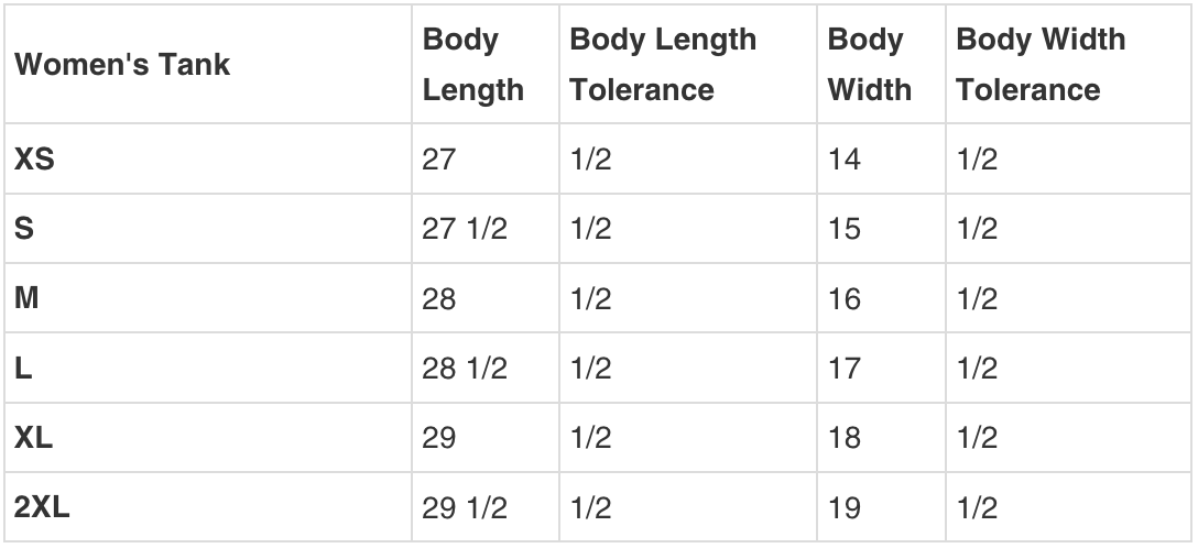 WOMENS TANK SIZING GUIDE