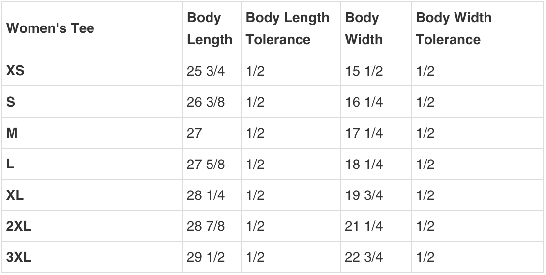 WOMENS TEE SIZING GUIDE