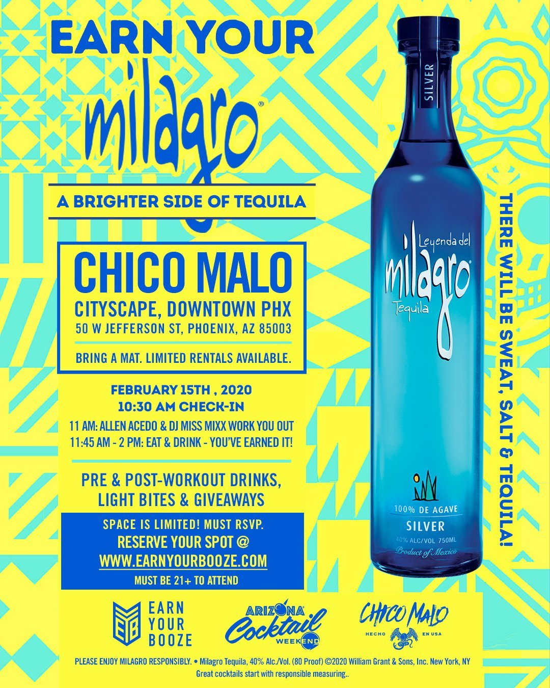 Earn Your Milagro Tequila! FEB 15, 2020Earn Your Booze
