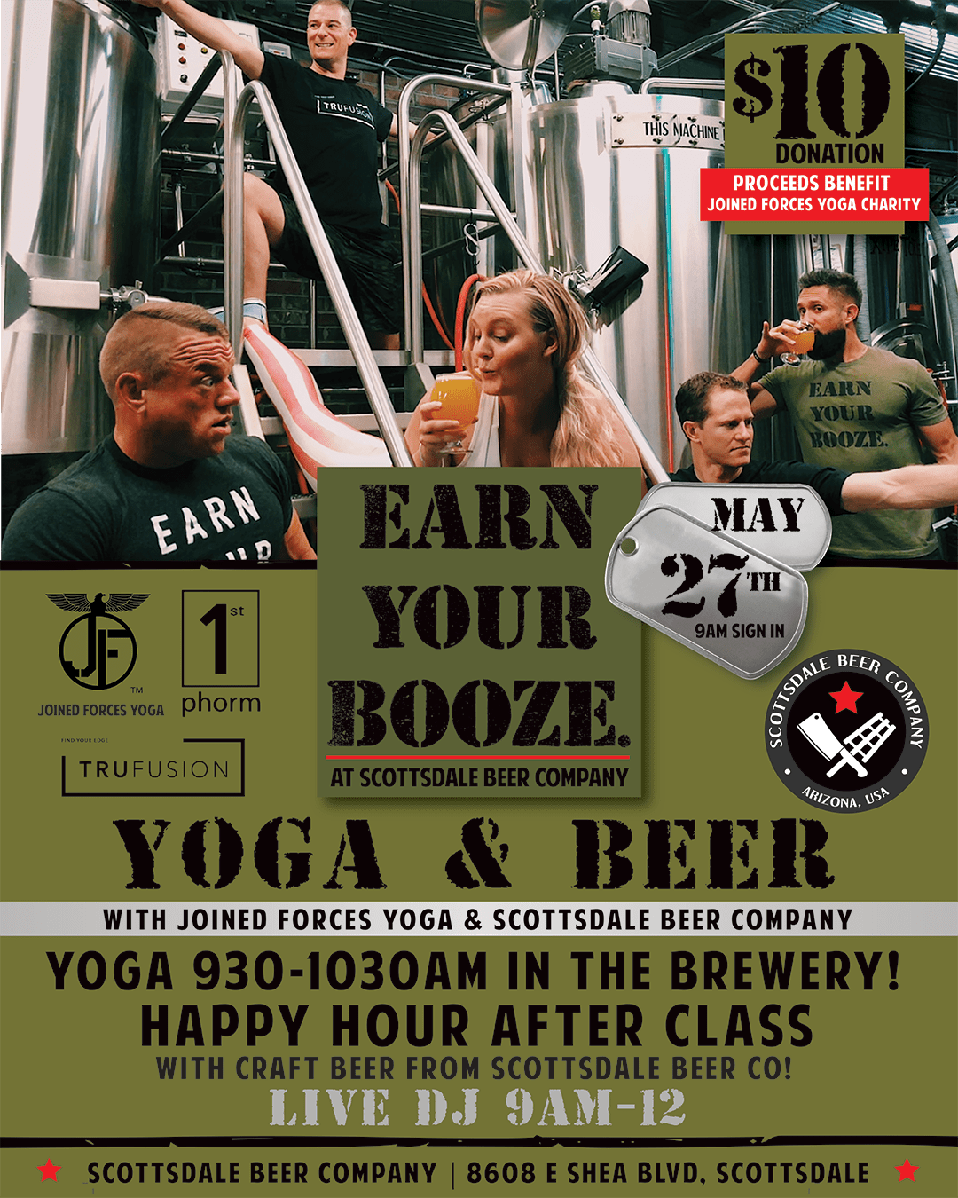 Joined Forces Yoga @ Scottsdale Beer Co (MAY 27)Earn Your Booze