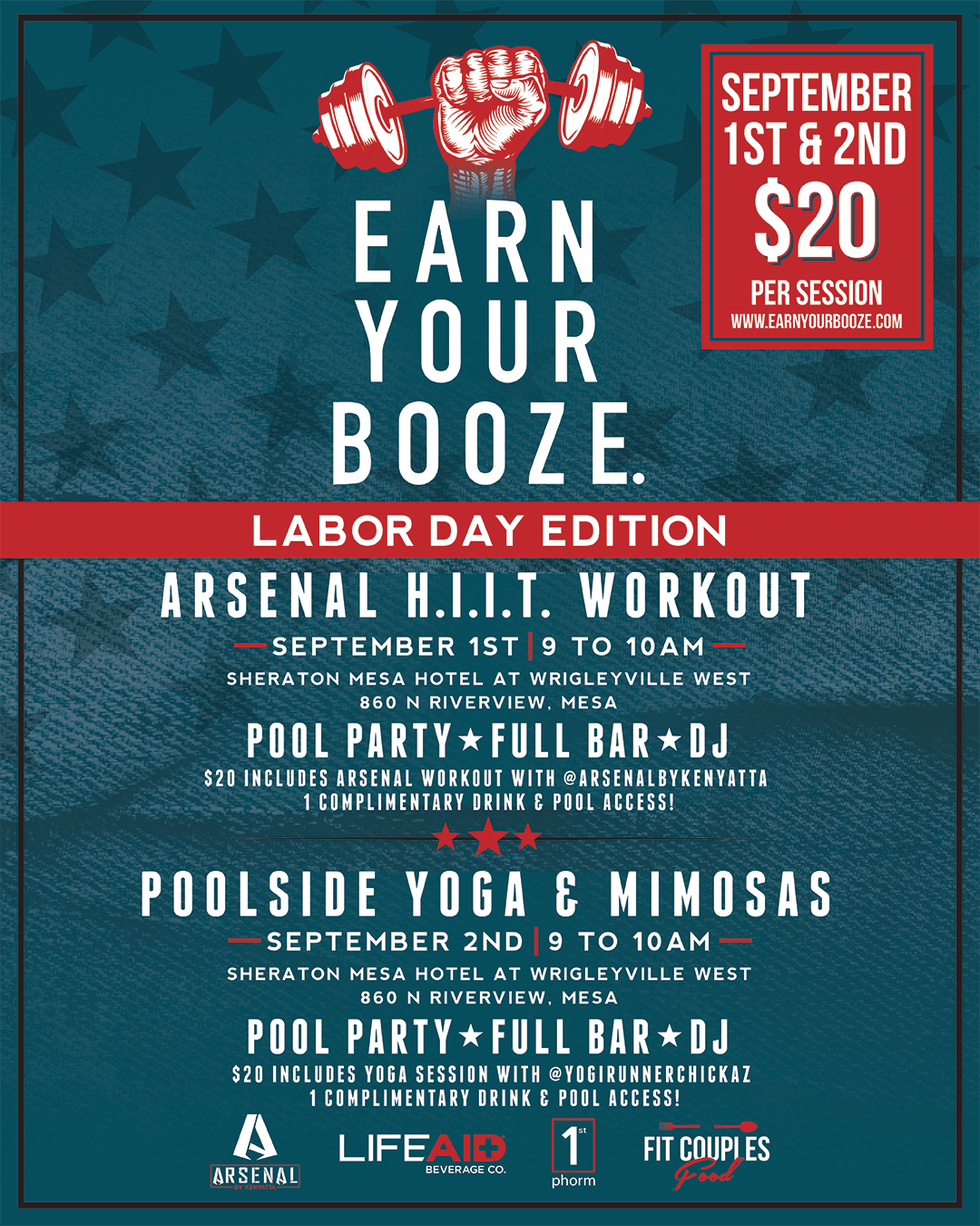 Labor Day weekend EYB events! Choose SAT -or- SUNEarn Your Booze