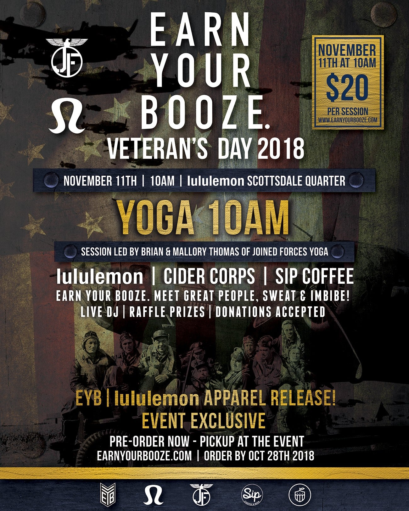 Veteran's Day 2018 w/ lululemon & Joined Forces Yoga | EARN YOUR WINE | EARN YOUR VINOEarn Your Booze