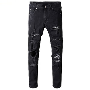 "The ""Bandana"" Distressed Biker Jeans"